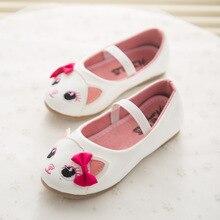 2017 Nouveau Printemps Mignon Chat Enfants Chaussures de Princesse Infantile Fille Shoes Avec Bowknot PU Enfants Shoes Filles En Bas Âge Plat Shoes