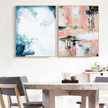 Abstract Blue Color Canvas Painting Vintage Poster Print Nordic Pop Art Wall Pictures for Office Living Room Home Decor No Frame(China)