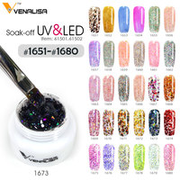 #61502 Venalisa brand nail art tips 5ml pure glitter color uv/led gel nail polish nail diy design painting pigment glitter gels