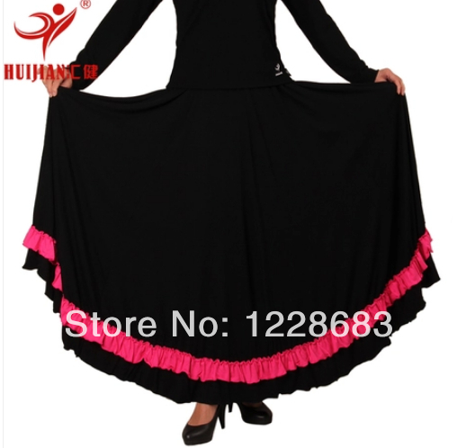 Free Shipping High Quality Women Lady Black With Hot Pink And Purple Bind Ballroom Modern Dance Long Dress Flamenco Skirt 2014