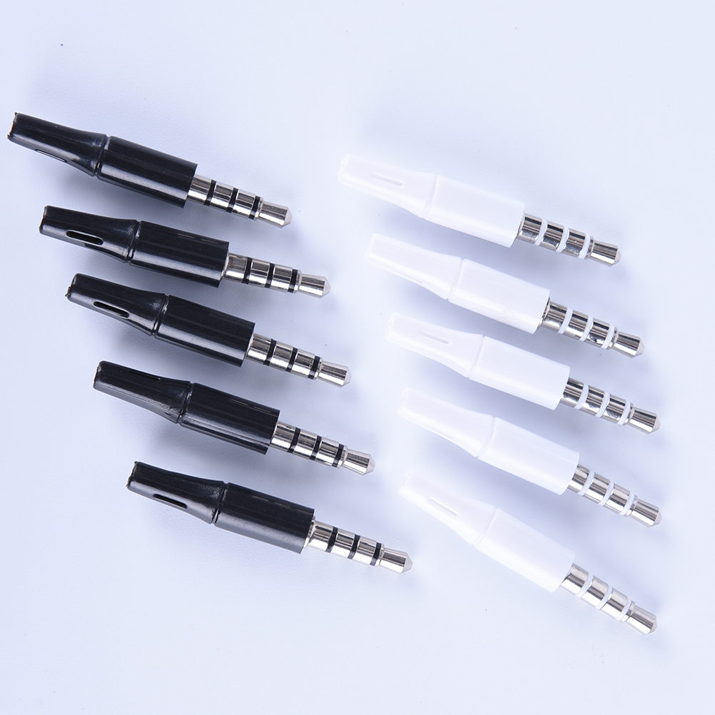 10pcs 3.5mm Stereo Headset Plug Jack 4 Pole 3.5 Mm Audio Plug Jack Adaptor Connector For Phone White And Black