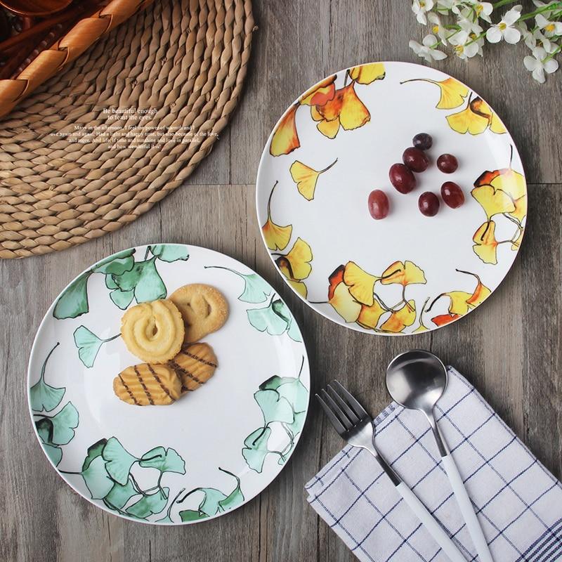 1pc Natural Design Ceramic Dinner Plate Porcelain