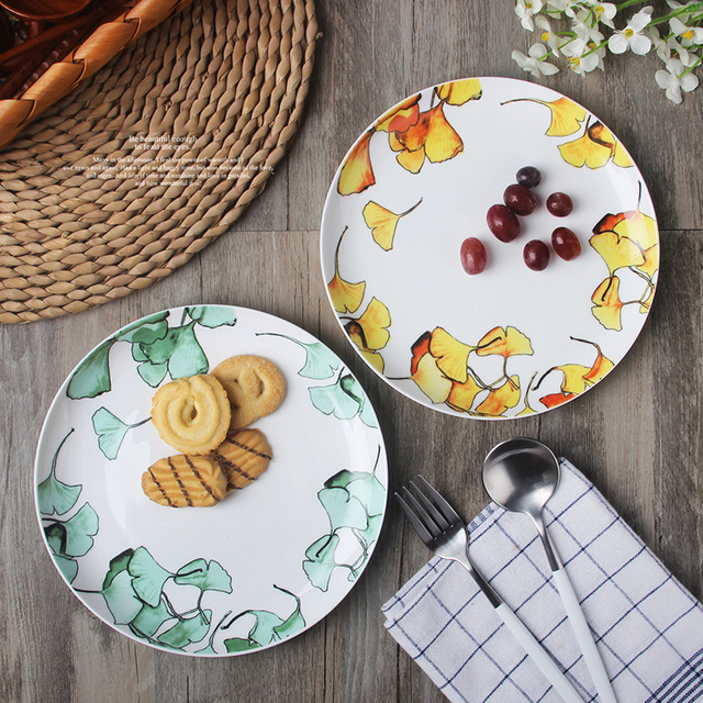 1pc Natural Design Ceramic Dinner Plate Porcelain Tableware Fine Bone China Plates Green and Yellow 8 & 1pc Natural Design Ceramic Dinner Plate Porcelain Tableware Fine ...