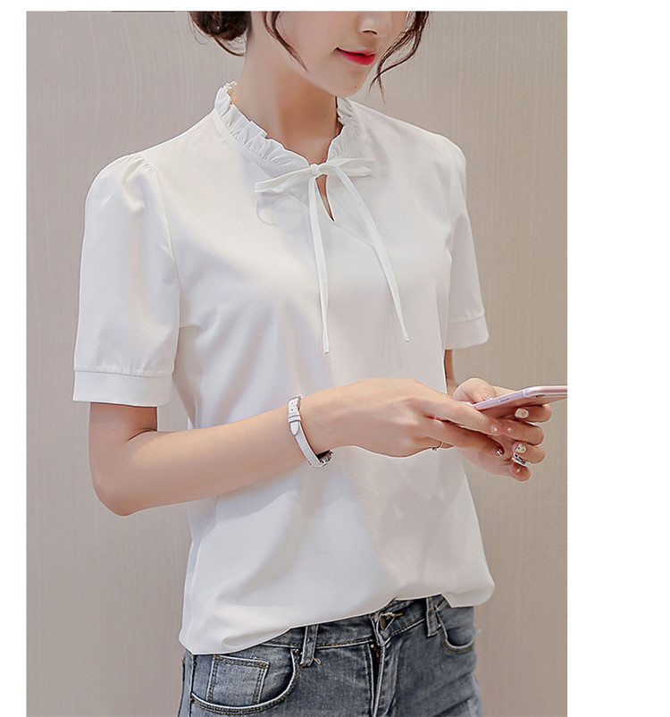 Summer White Blouse 2017 New Fashion Women Short Sleeve Shirts Slim Casual Tops Elegant Lace Up Chiffon Blouses Blusas SF261 2