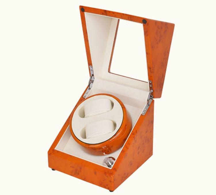 2+0  High Quality Orange Luxury  watch winder machine ultra luxury 2 3 5 modes german motor watch winder white color wooden black pu leater inside automatic watch winder