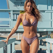 Solid Tie-Waist Shaping Swimwear Female 365 Sexy Stretch Cut Out Mid Waist Bikini Backless Hollow Swimming Suit For Women