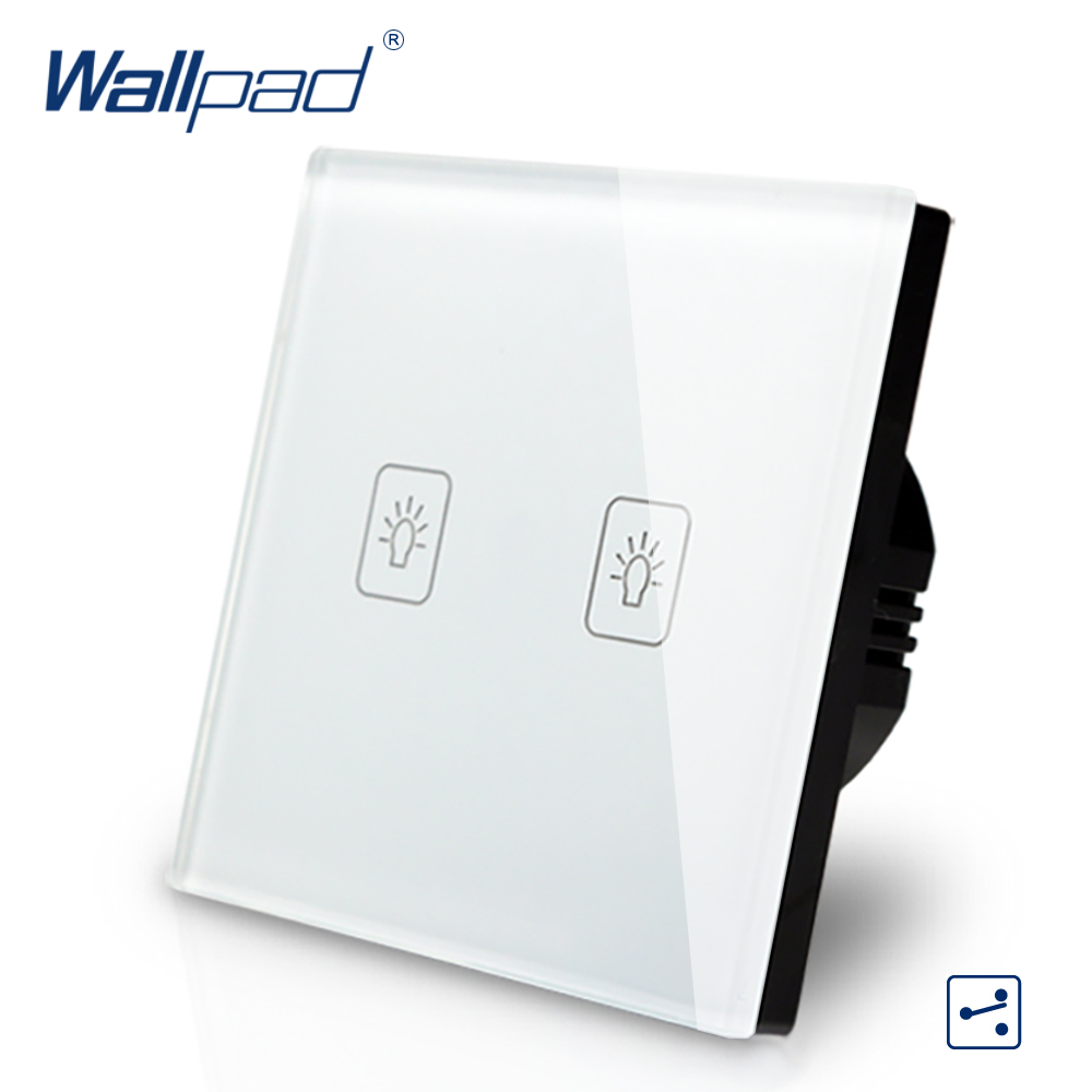 2 Gang 2 Way Intermediate Switch Wallpad Luxury White Crystal Glass Wall Switch Touch Switch Normal 110-250V European Standard2 Gang 2 Way Intermediate Switch Wallpad Luxury White Crystal Glass Wall Switch Touch Switch Normal 110-250V European Standard