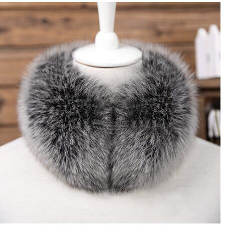 FXFURS 2018 Real Fox Fur   Scarf   Headband   Scarves   Neck Warmer natural fox fur   Wrap   Cape Shawl Poncho snood Winter Warm Ring magnet