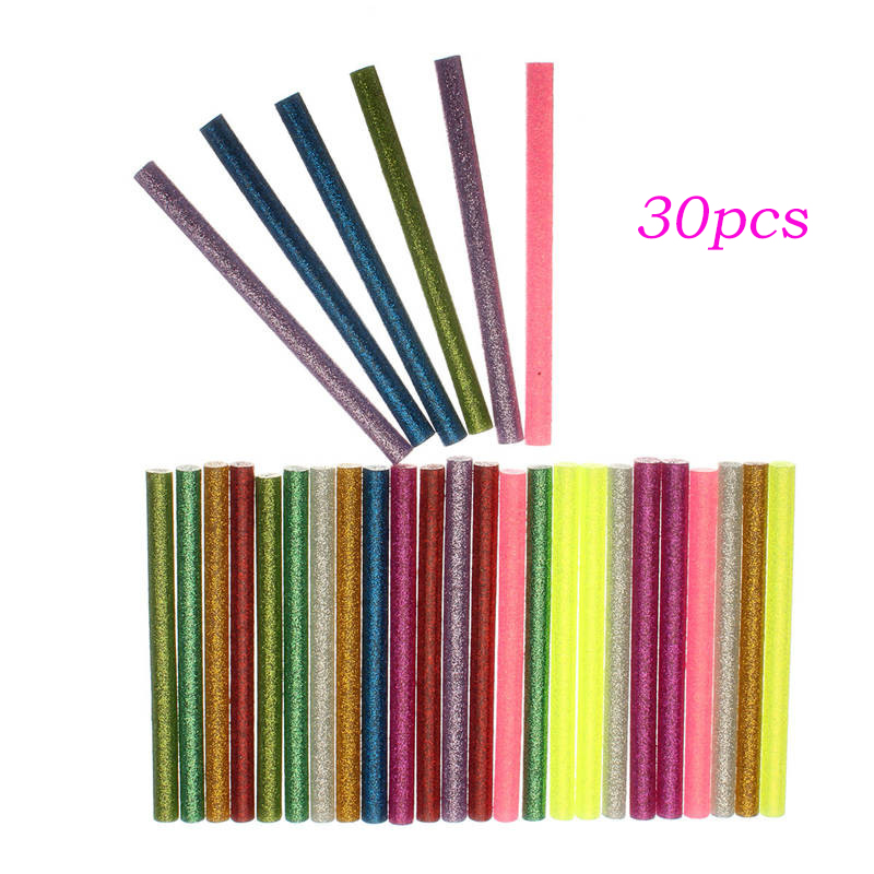 Best Price 7*100mm 30pcs Flash Mix Color Hot Melt Glue Stick Mobile Beauty DIY Tools Highly Viscous Adhesive Strips 032