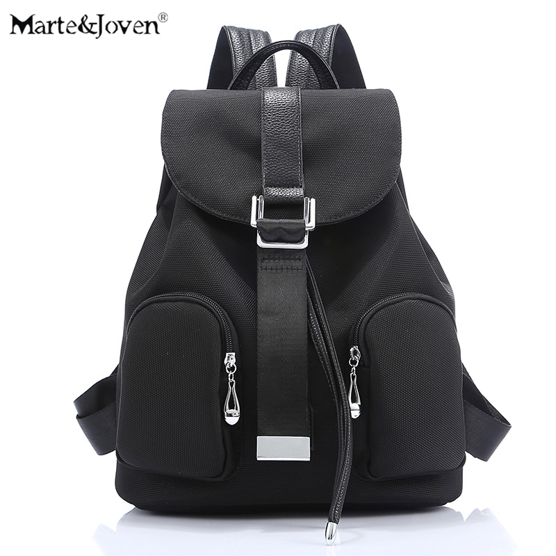 New Brand Drawstring Design Women Black Canvas Backpack Korean Fashion Casual Travel Backpacks Girls Schoolbags Mochila