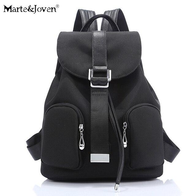 341ec31752 New Brand Drawstring Design Women Black Canvas Backpack Korean Fashion Casual  Travel Backpacks Girls Schoolbags Mochila Feminina