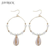 Bohemia Sea Shell Round Circle Stone Beaded Women Drop Earrings Summer Seaside Jewelry