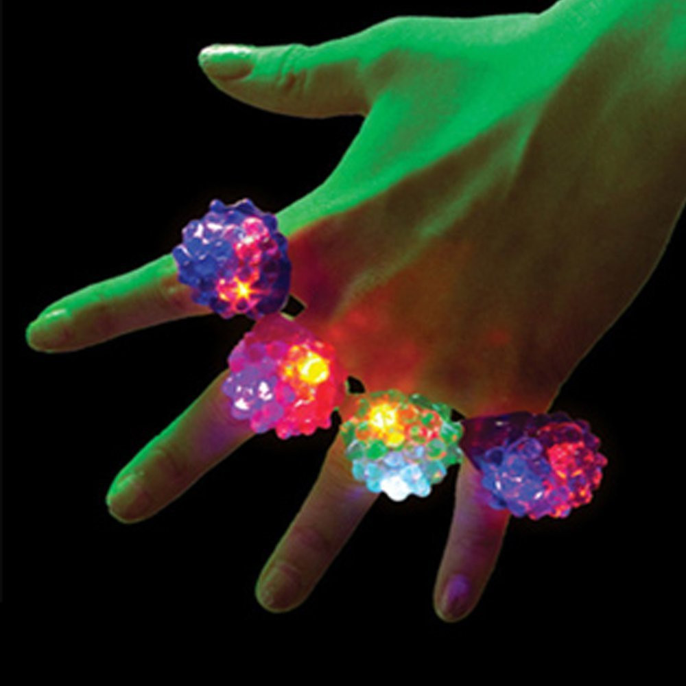 18 Pack Led Rubber Rings For Party Favors Jelly Bubble Light Up Finger Toy Education Toy Baby Toys & Games Children