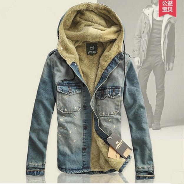 Мужская хлопка-ватник ник одежда мужская шерсть джинсовая куртка хлопок лайнер