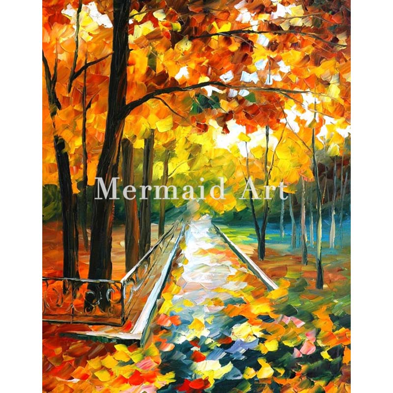 Hand Painted Landscape Abstract Palette font b Knife b font Modern November Park Oil Painting Canvas