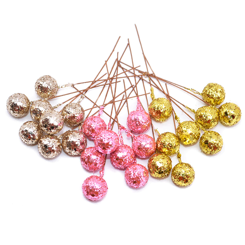 50PCS DIY Flowers Glitter Christmas Flowers Artificial Berries Artificial Flowers Stamens Wedding/Christams Party Decoration