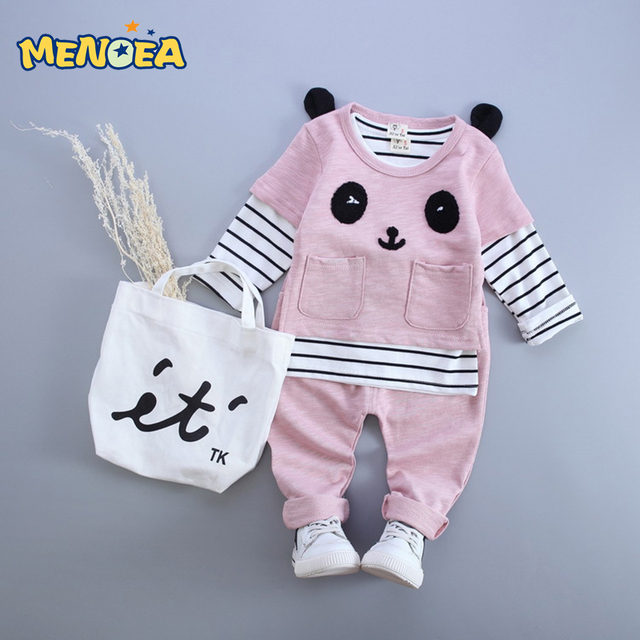 Menoea 2017 Autumn Fashion Style Baby Boy Clothes  Long Sleeve Striped Shirt+Panda Shirt+Pants 3Pcs Baby Clothing Sets