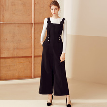 black full length side pockets buttons loose jumpsuits 8077