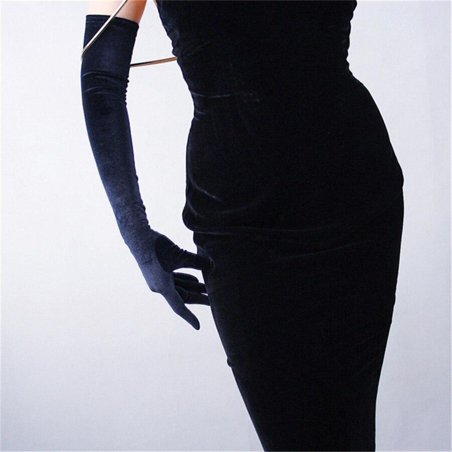 Elegant Black Velvet Gloves 60cm Long Section Over Elbow High Elastic Black Swan Female Touch Screen Gloves RHS60