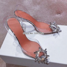 ALMUDENA Clear PVC Stlietto Heels Bling Wedding Shoes Beaded Flowers Glitter Slingback Sandals Pointed Toe Crystal Pumps