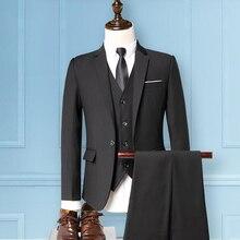 Business Slim-fit split-single single-row button coat + vest + trousers three-piece suit men's suit free shipping цена и фото
