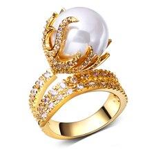 Forme a mujeres los anillos chapado en oro con blanco CZ y perlas de imitación de alta calidad anillo de dedo partido anillos envío gratis tamaño completo