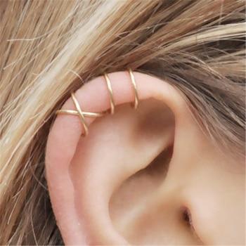 dc9ec466ec89 2 unids par 100% Real 925 pendientes de la plata esterlina para mujeres  niñas de plata Color oro oreja cartílago no- piercing pendientes de Clip  pendientes ...