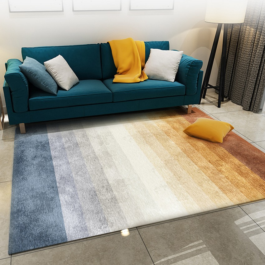 Post-moderne changeant progressivement la couleur rayé tapis de chevet, grande taille salon table basse tapis, décoration salle à manger tapis
