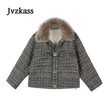 Jvzkass 2019 new coat female winter Korean loose was thin fur collar a small retro plaid woolen jacket wave Z104