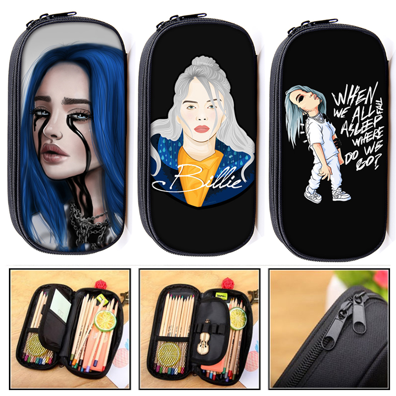 Billie Eilish Cosmetic Cases Pencil Bag BE Women Makeup Bags Teenager Girls Pencil Box School Case Supplies