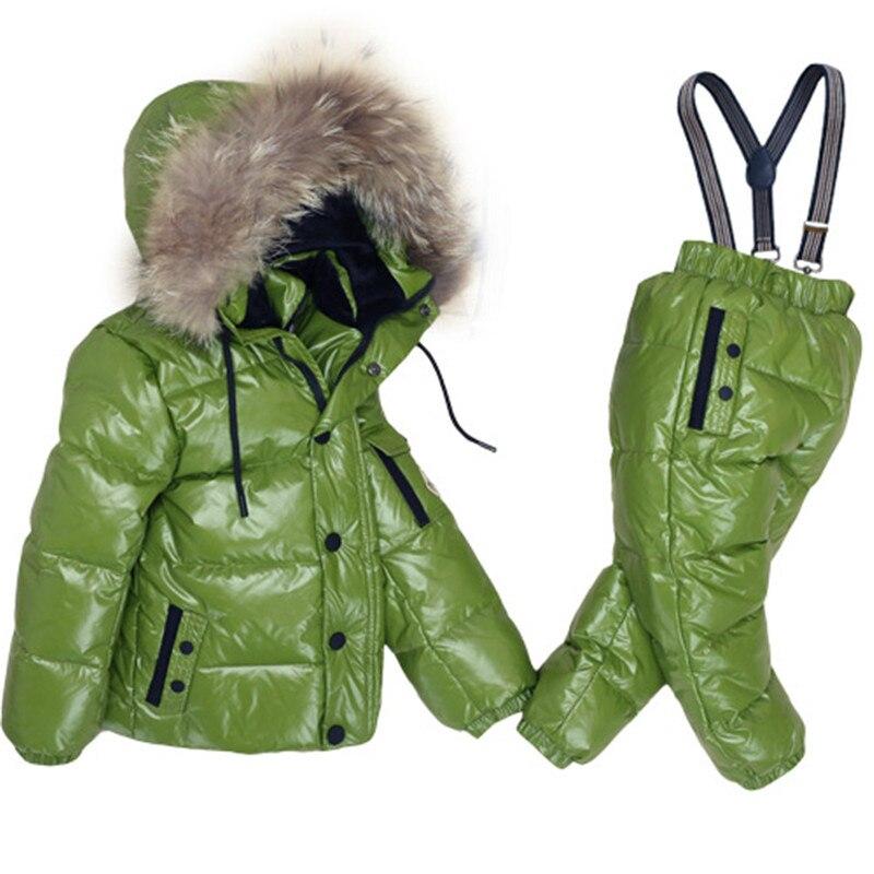 2017 Russia Winter Children Clothing Set for Infant Boys Down Cotton Coat Jumpsuit Windproof Ski Suit