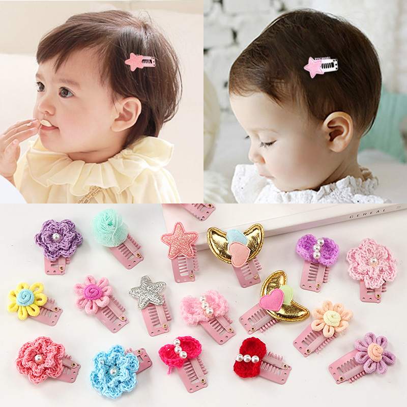 2PCS/Lot New Baby Girls Lovely Flower Pearl Small Hair Clips Newborn Safety Hairpins Few Hair Holder Clips Kids Hair Accessories 1pcs crystal bowknot hair clips for girls rhinestone decorattion hairpins styling tools barrette braiding accessories hair pins