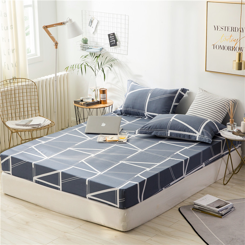 Trendy Black White Rectangle Pattern Fitted Sheet And Pillow Case 3 Pc 100% Cotton Mattress Cover Bed Linens With Pillowcase Trendy Black White Rectangle Pattern Fitted Sheet And Pillow Case 3 Pc 100% Cotton Mattress Cover Bed Linens With Pillowcase