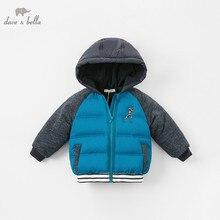 DBA7782 dave bella baby jongen jas kinderen blauw bovenkleding mode winter jas