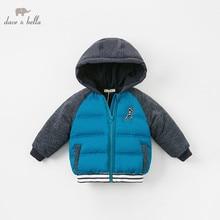 DBA7782 dave bella del bambino del rivestimento del ragazzo dei bambini blu della tuta sportiva di modo del cappotto di inverno