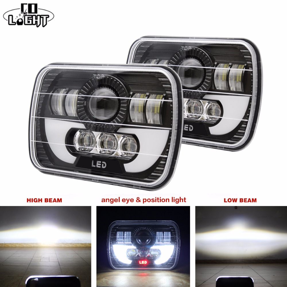 CO LIGHT LED Headlight 7x6 Red Eye DRL HID Light Bulb XDR9 Crystal Clear Sealed Beam Lamp for Jeep Cherokee XJ Truck 5x7 Inch hireno headlamp for mercedes benz w163 ml320 ml280 ml350 ml430 headlight assembly led drl angel lens double beam hid xenon 2pcs
