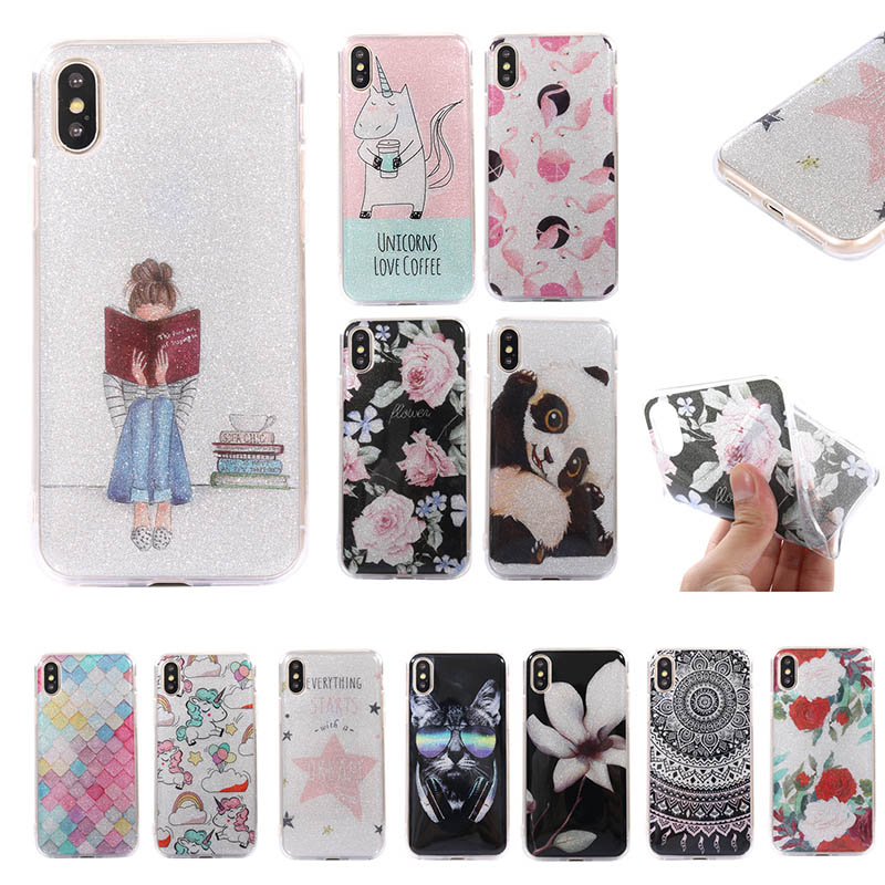 Glitter star unicorn panda girl soft silicone TPU for Apple phone cover cases for iphone 5 5s SE 6 6s 7 8 Plus case 7Plus 8Plus