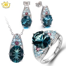 Natural Blue Fluorite & Tourmaline & Apatite Solid 925 Sterling Silver Jewelry Sets Ring & Pendant & Earrings Womens
