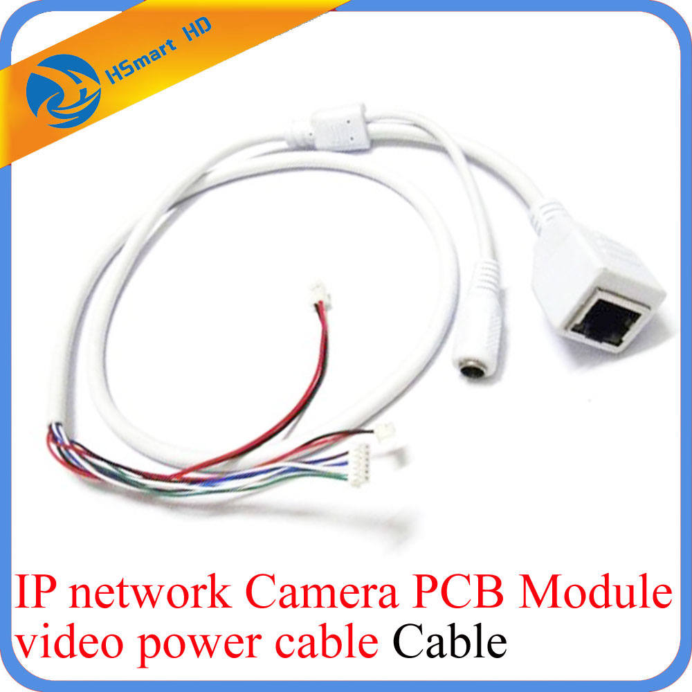 CCTV IP Network WiFi HD Camera PCB Module video power cable RJ45 female & DC male White 10pcs cctv ip network camera pcb module video power cable 60cm long rj45 female