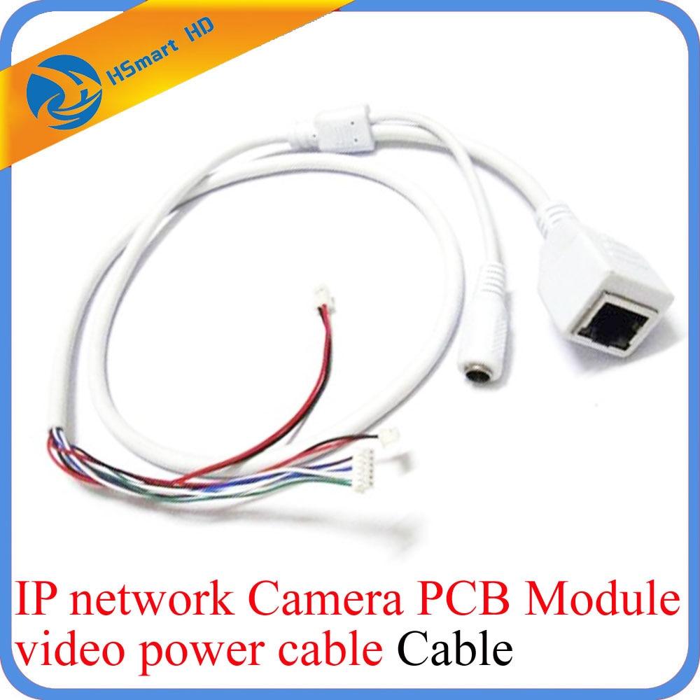 CCTV IP Network WiFi HD Camera PCB Module Video Power Cable RJ45 Female & DC Male White