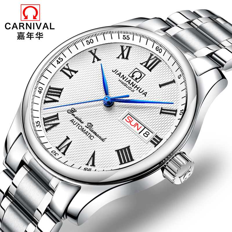 Switzerland CARNIVAL Watches Men Automatic Mechanical Men Watch relogio masculino Sapphire Mens Luxury Brand Wristwatch C8666-3 sapphire automatic mechanical watch classic mens watches top brand luxury fashion male wristwatch high quality relogio masculino