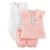 SSS3-017,Original, Just Arrived,Baby Girls 3-Piece Bodysuit & Short Set, With Contrast Embroidery, Free Shipping