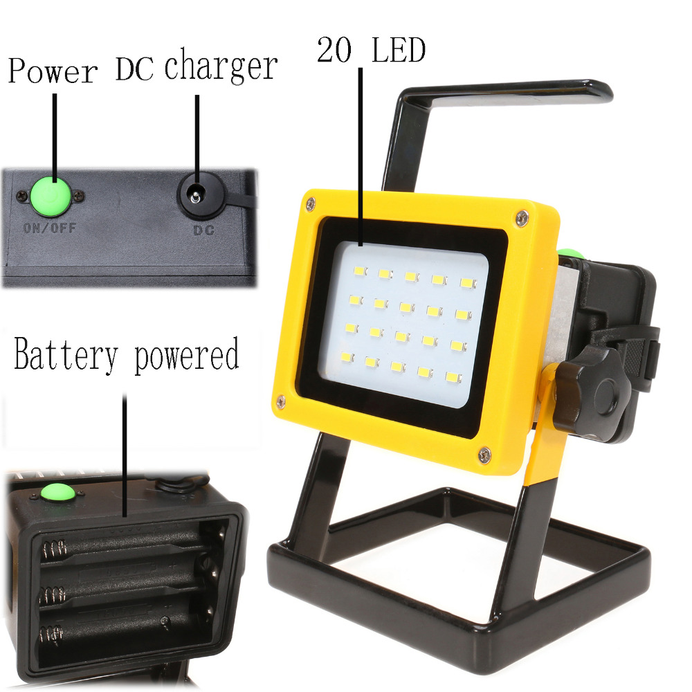 IP65 Rechargeable 30W Outdoor Portable LED Working Lamp 20LED Floodlight Work Emergency for Car Traveling Camping Fishing Use portable led floodlight 10w rechargeable ip65 waterproof outdoor lantern hand led light for camping fishing work emergency lamps