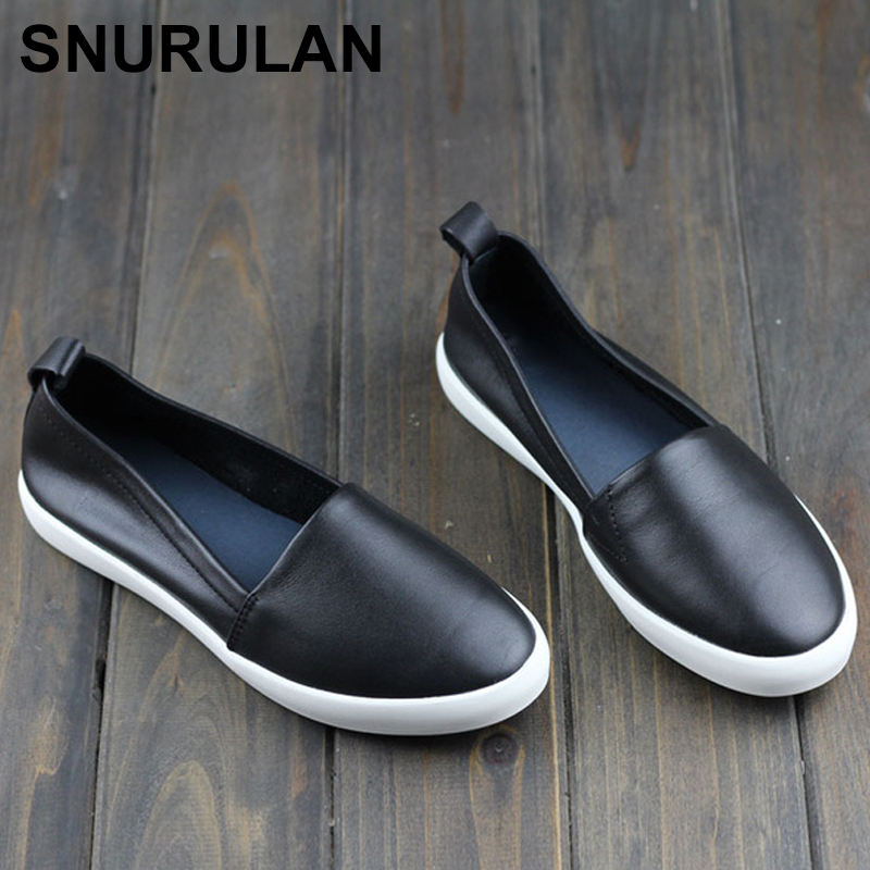 SNURULAN Woman Flats Genuine Leather Round toe Slip on Loafers Ladies Flat Shoes Skid proof Spring/Autumn Female Footwear E241 woman shoes flat genuine leather slip on ballerina flats ladies flat shoes spring autumn female footwear 1688 3