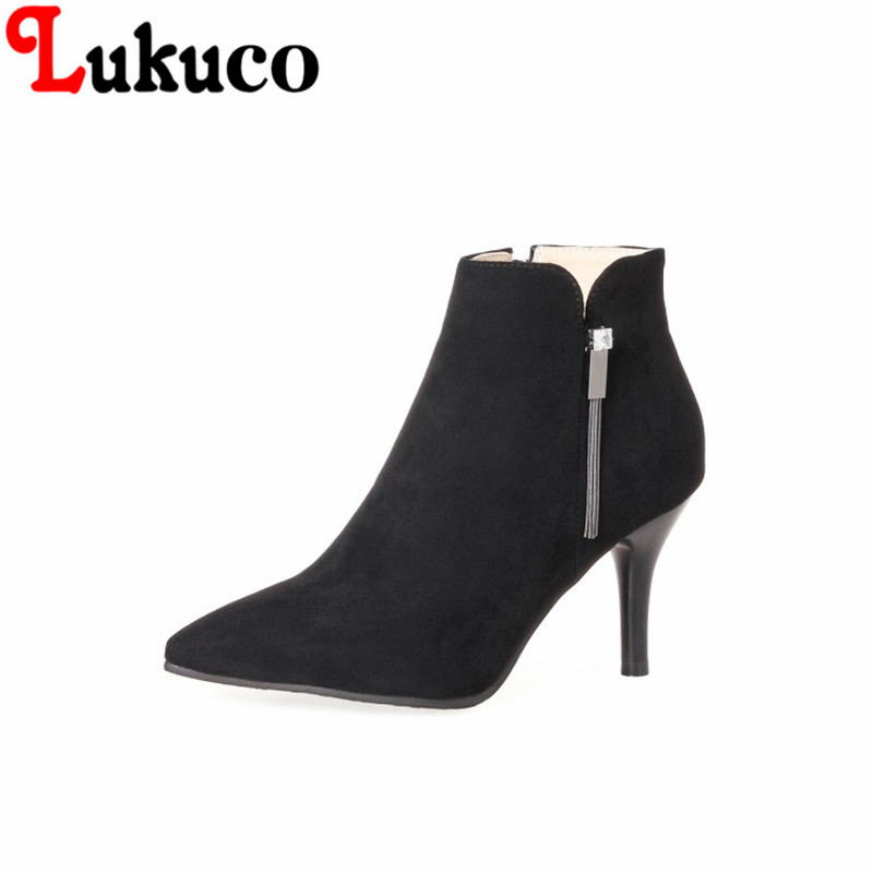 2018 New concise style Pointed Toe lady shoes size 34-46 Thin Heels Ankle Boots high quality low price super bargain women boots 2017 fashion style zipper decoration round toe shoes size 34 47 mid calf boots high quality low price super bargain women boots