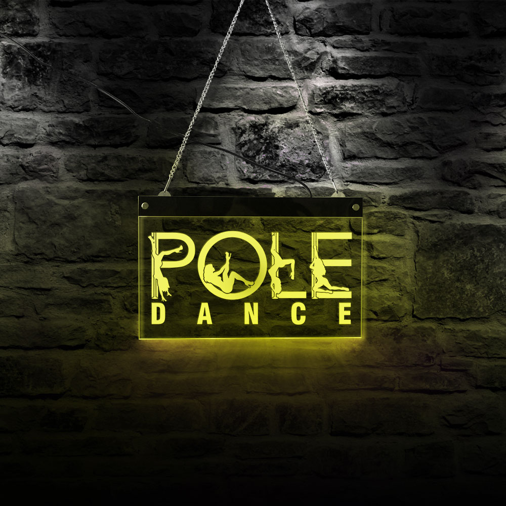 Beauty Dancing girl Pole Dance Night Club LED Wall Light Business Logo LED Neon Sign Steel Tube Dancing Acrylic Light Lamp