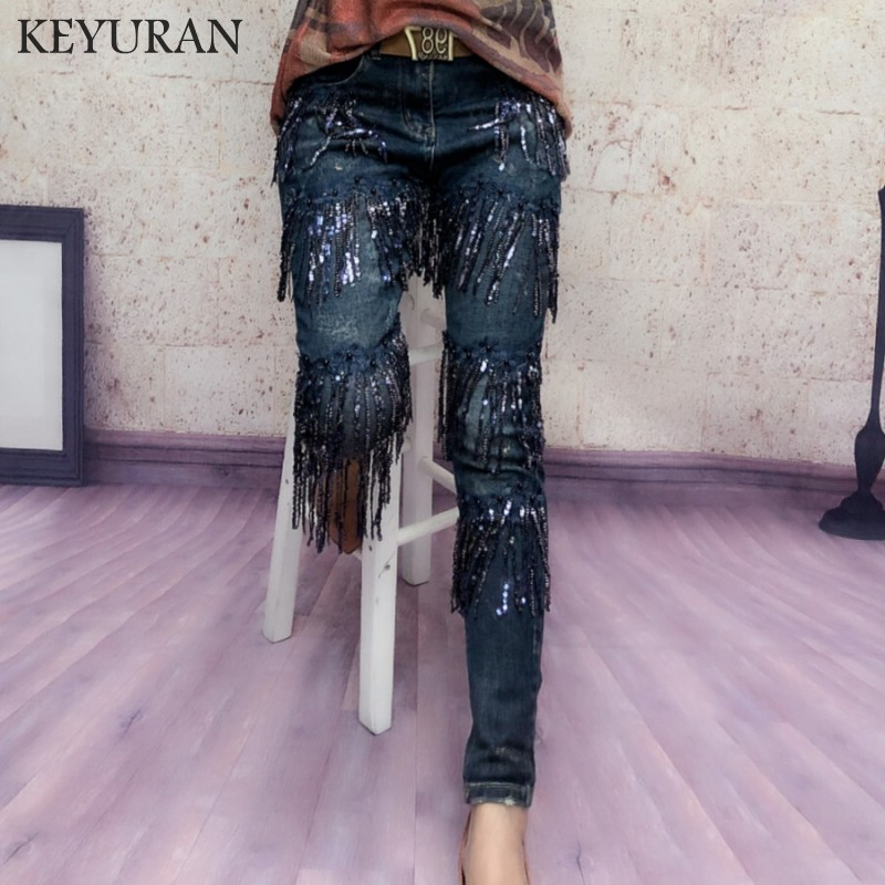 Stretch Skinny   Jeans   Femme Elastic Denim   Jeans   Women Harem Pencil Pants Skinny Long Pants With Sequined Tassel Casual Trousers