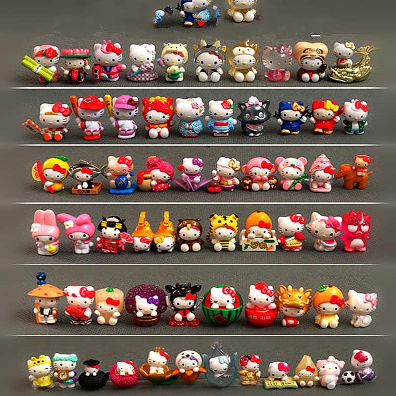 100pcs/lot 1.5 2.5cm Mini Hello Kitty Action Figures Plastic PVC Christmas Toy Kids Home Cake Decor Collectible Toys S4272Action & Toy Figures   -