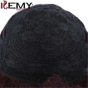Image 5 - Afro perwersyjne kręcone peruki KEMY włosy krótkie włosów ludzkich peruk dla czarnych kobiet naturalne czarny kolor czerwony brazylijski Non  remy włosy peruki