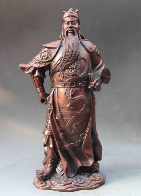 Elaborate Chinese Folk Red Copper Dragon Guan Gong Guan Yu Warrior Statue